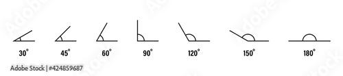 Fotografia, Obraz 30, 45, 60, 90, 120, 150 and 180 degree icon set