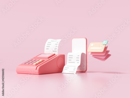 Fotografia Cashless society, credit card, pos terminal and phone on pink background