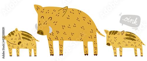 Tela Cute Boar family dad and piglets hand drawn vector illustration scandinavian doo