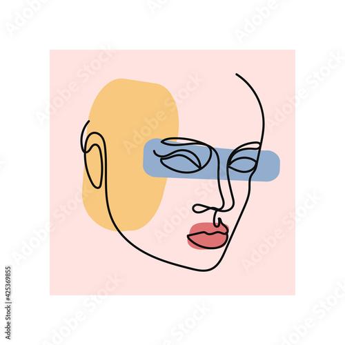 Obraz na plátně Beautiful portrait continuous silhouette art