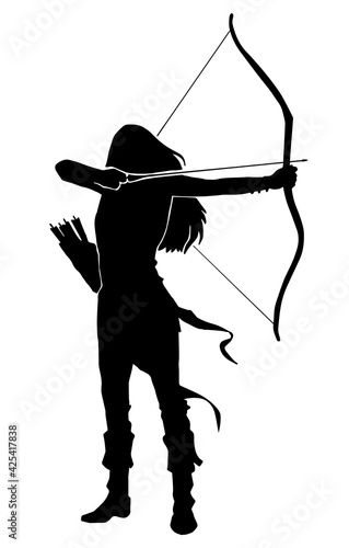 Photo woman archer warrior silhouette