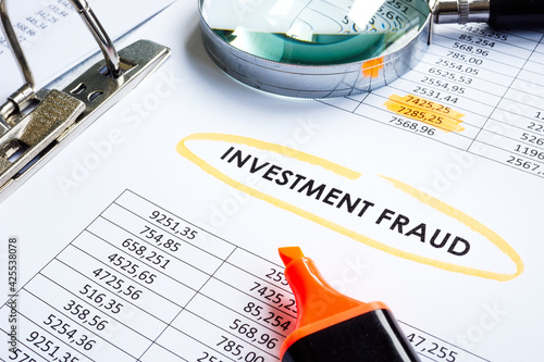 Valokuvatapetti Investment fraud result of checking financial documents.