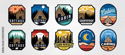 Fotografia set of vector cottage outdoor logo emblem vector illustration design, adventure