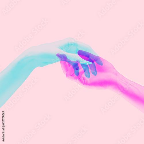 Tela Hands aesthetic on bright background, artwork