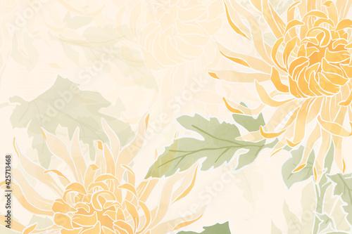 Billede på lærred Hand-drawn chrysanthemum floral background
