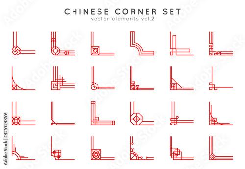 Tela Chinese corner set in vintage style on white background