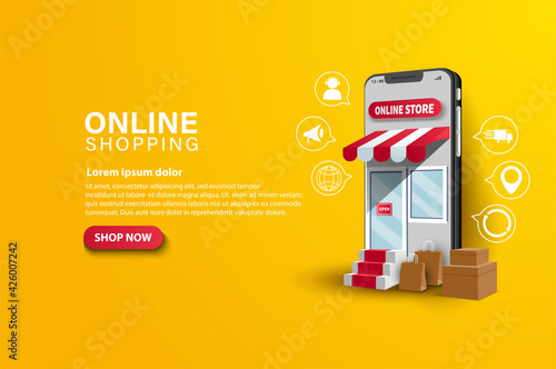 Digital marketing concept online shopping background with box and shopping bag i Fotobehang