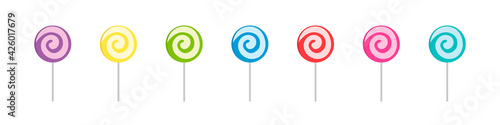 Stampa su Tela Set of colorful sweet lollipops