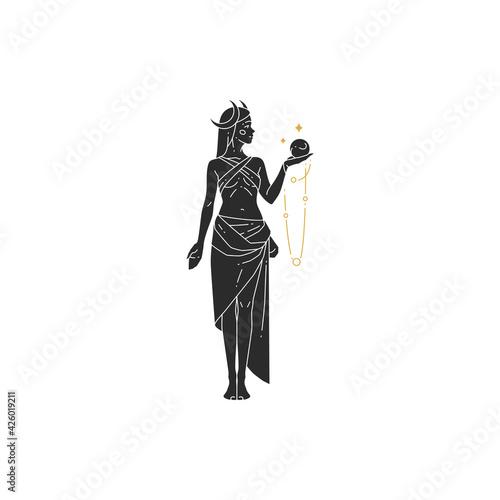 Fényképezés Beautiful bohemian woman goddess with crystal ball and moon crescent silhouette