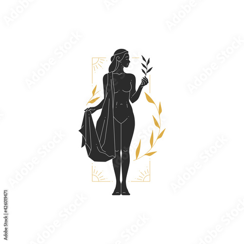 Fototapeta Beautiful bohemian woman goddess with branch and leaves silhouette