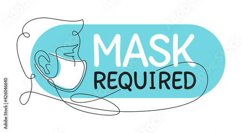 Fotografia Mask Required in thin continious line