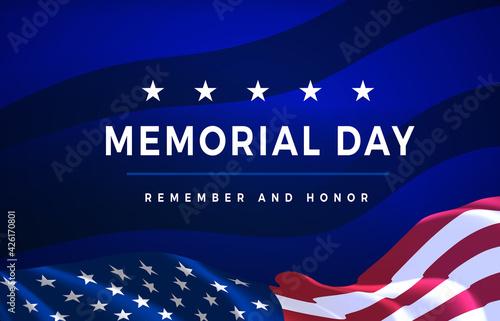 Obraz na plátně Memorial Day - Remember and Honor Poster