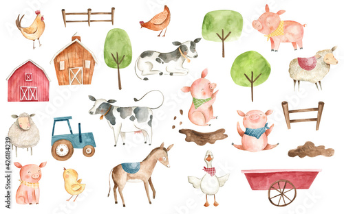 Foto Watercolor animals Farm illustration pig cow chicken duck donkey