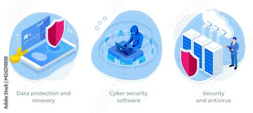 Fotografiet Isometric Online information protect, internet digital technology