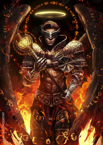 A handsome, muscular, bare-chested angel knight stands in the middle of the inferno with a mace in his hands and a halo over his head Fototapeta