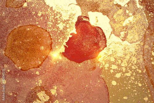 Fotografia Gold and amber abstract alcohol ink marble texture