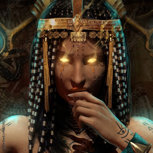 Obraz na plátně Portrait of an Egyptian pharaoh woman, she is a sorceress with bright yellow glo