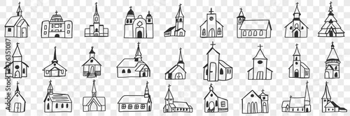 Obraz na plátne Church facades with towers doodle set