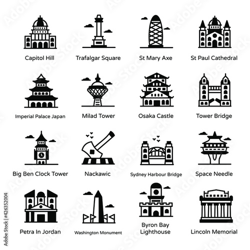 Fotografia Solid Icons of Famous Landmarks Pack