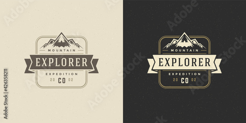 Fotografia, Obraz Mountain camping logo emblem outdoor landscape vector illustration rock hills si