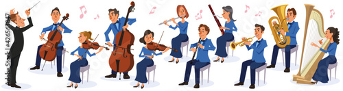 Music conductor and symphony orchestra on white background. Performing with various kinds of musical instruments. Vector illustration in flat cartoon style.