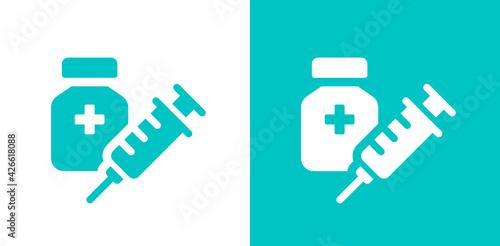 Vászonkép Syringe with vaccine icon symbol vector.