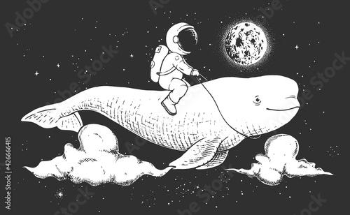 Canvas Print astronaut and beluga