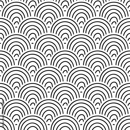 Leinwand Poster Abstract striped fish scale seamless pattern