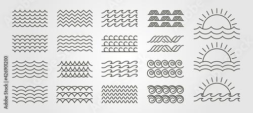 Obraz na plátně set bundled wave icon logo vector minimal illustration design, line art wave pac