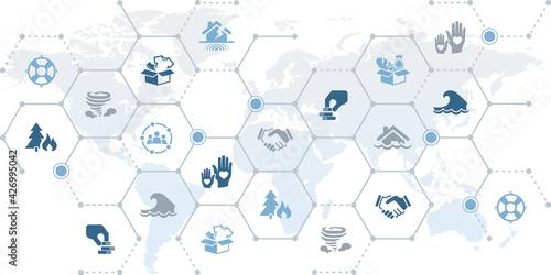 Valokuva Worldwide volunteering / charity in a crisis vector illustration