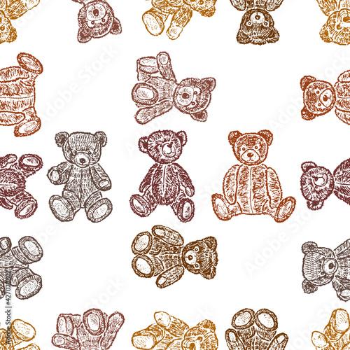 Seamless pattern of varios drawn old teddy bears