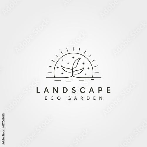 Fotografia line art tree landscape logo vector with sunset creative illustration design, li