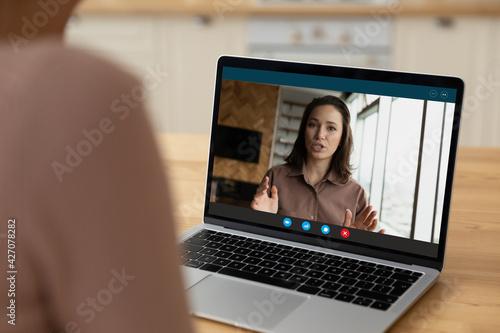 Carta da parati Webcam portrait of young female applicant talk answer employer question on distant job interview