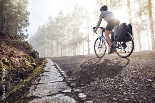 Slika na platnu Cyclist on a bicycle with panniers riding along a foggy forest road