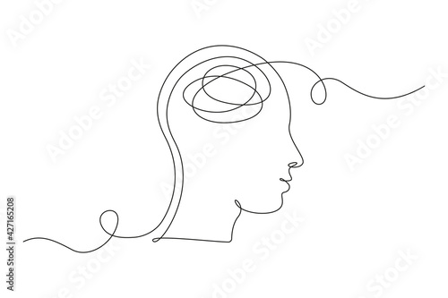 Fotografia Continuous one line drawing of a person with confused feelings worried about bad mental health