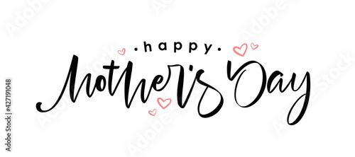 Handwritten calligraphic lettering of Happy Mother's Day on white background.