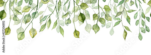 Fotografie, Obraz Seamless long banner with twigs and green leaves