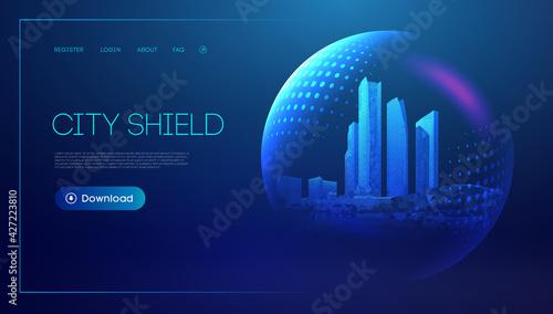 Fotografia City shield blue futuristic background