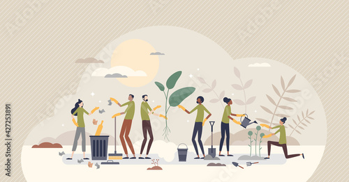 Photo Community service care and social valuable work activity tiny person concept
