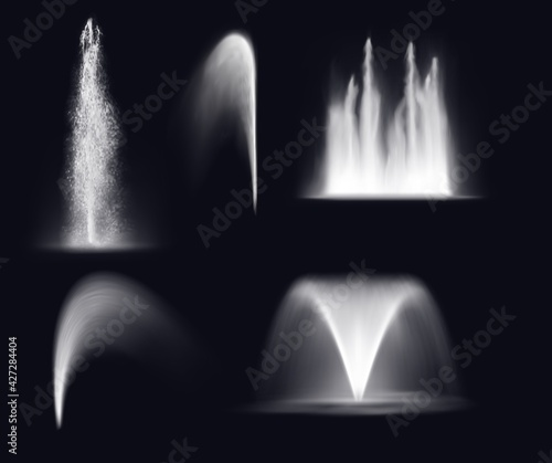 Fotografija Fountain water jets and splashes, isolated realistic 3d vector waterfall and stream spray