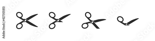 Valokuva Set of cutting scissors with cut lines for cutting paper in flat style