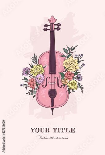 Slika na platnu Hand drawn illustration of cello and flowers