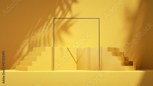 Fotografie, Obraz 3d render, abstract sunny yellow background with steps, square frame, leaf shadows and bright sunlight