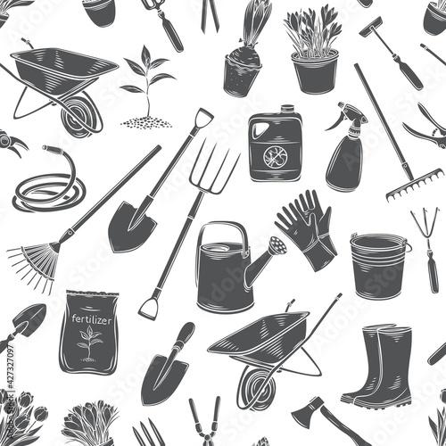 Valokuva Gardening tools and plants flowers
