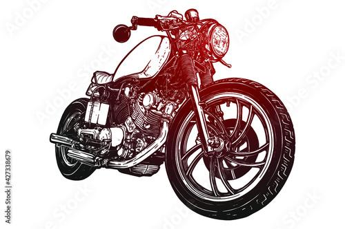 Fotografie, Obraz Motorcycle vector illustration - Out line