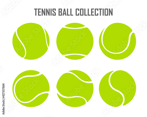 Wallpaper Mural Vector green tennis ball collection Isolated on white background.