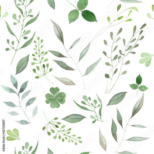 Fotografia Hand painted Watercolor Seamless Botanical Pattern on white background