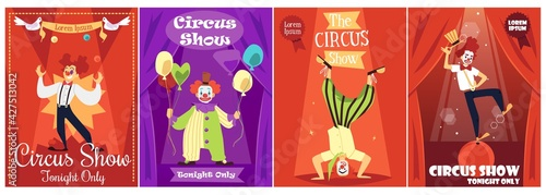 Fotografie, Tablou Circus show invitation posters collection with clowns flat vector illustration