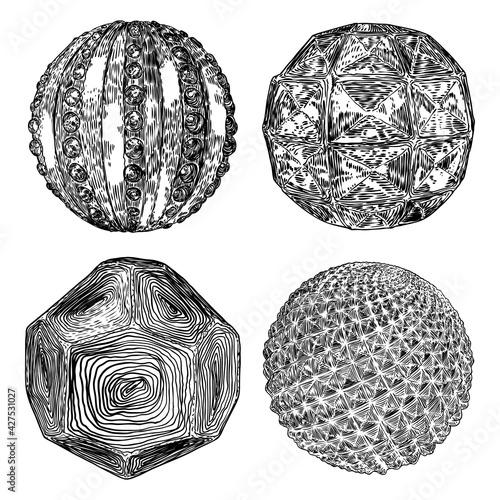 Foto Set of decorative balls in hand drawn style