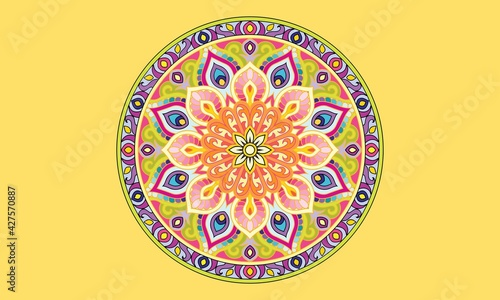 Fotografie, Obraz Mandala coloring book for kids mandala coloring page yellow background